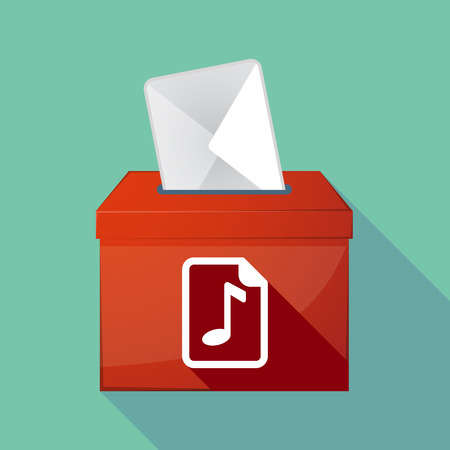 music score: Illustration of a long shadow ballot box with  a music score icon