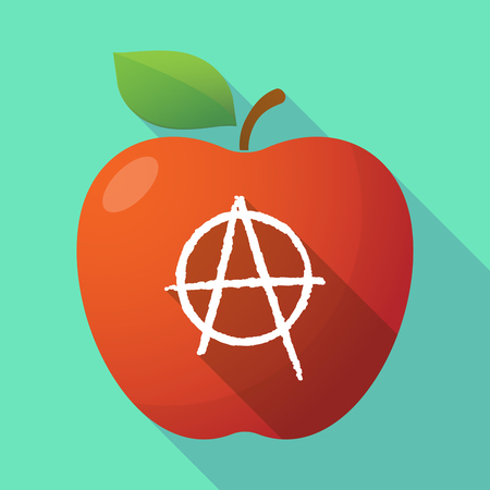 Illustration of a long shadow healthy fresh food red apple fruit icon with an anarchy sign Illustration