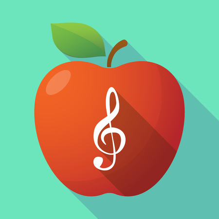 g clef: Illustration of a long shadow healthy fresh food red apple fruit icon with a g clef