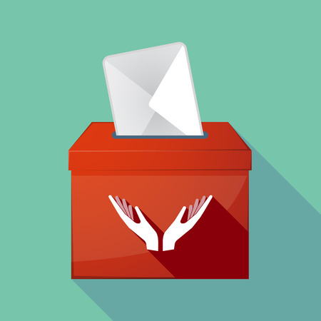 ease: Illustration of a long shadow ballot box with  two hands offering