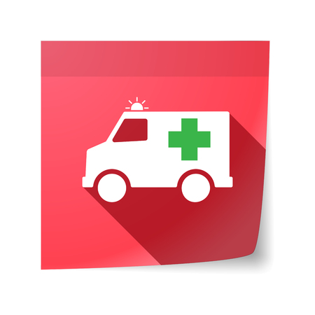 sticky note: Illustration of an isolated sticky note with  an ambulance icon