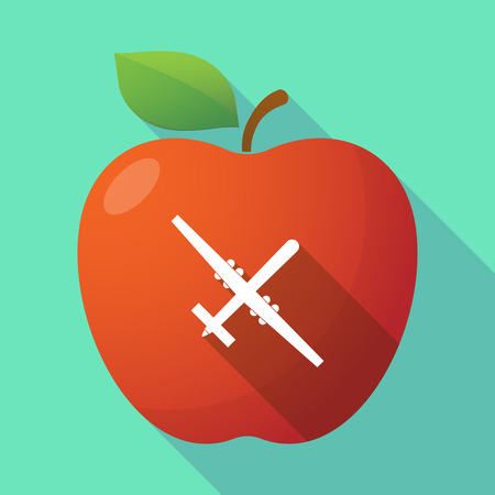 Illustration of a long shadow healthy fresh food red apple fruit icon with a war drone