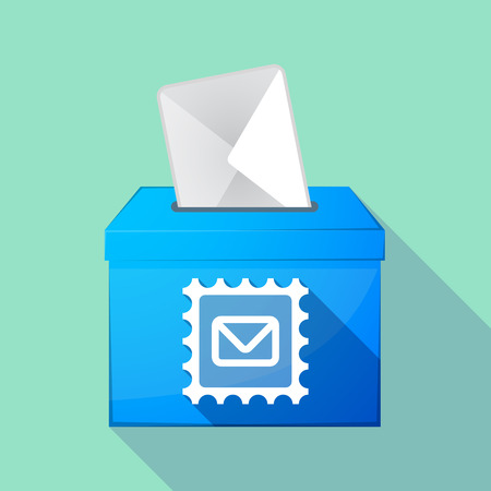elect: Illustration of a long shadow ballot box with  a mail stamp sign