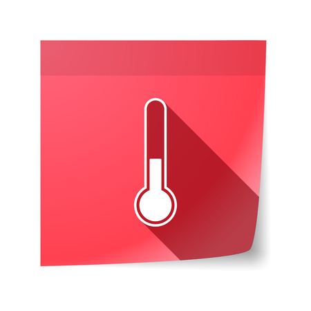 sticky note: Illustration of an isolated sticky note with  a thermometer icon