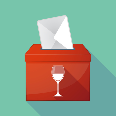 elect: Illustration of a long shadow democratic election ballot box with a cup of wine Illustration
