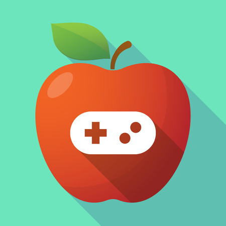 Illustration of a long shadow healthy fresh food red apple fruit icon with a game pad