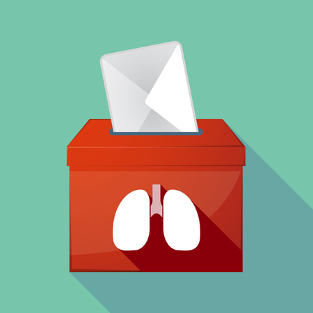 elect: Illustration of a long shadow ballot box with  a healthy human lung icon Illustration