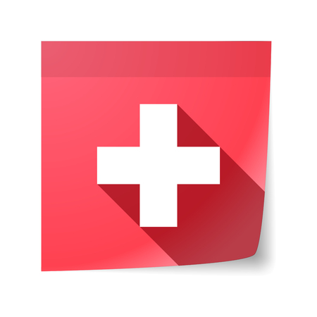 sticky note: Illustration of an isolated sticky note with   the Swiss flag