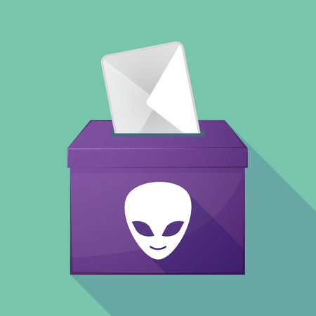 democratic: Illustration of a long shadow democratic election ballot box with an alien face Illustration