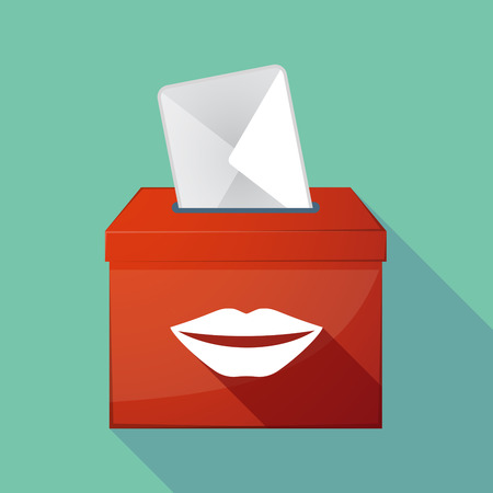 long mouth: Illustration of a long shadow ballot box with  a female mouth smiling Illustration
