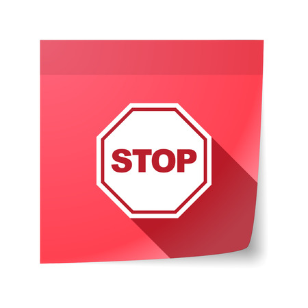 sticky note: Illustration of an isolated sticky note with  a stop signal Illustration