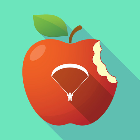 Illustration of a long shadow healthy fresh food red apple fruit icon with a paraglider