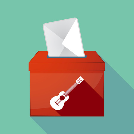 elect: Illustration of a long shadow ballot box with  an ukulele