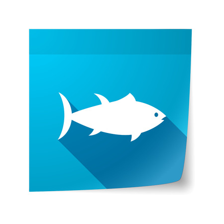 sticky note: Illustration of an isolated sticky note with  a tuna fish Illustration