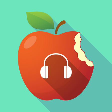 earphone: Illustration of a long shadow healthy fresh food red apple fruit icon with a earphones