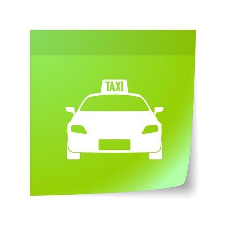 sticky note: Illustration of an isolated sticky note with  a taxi icon