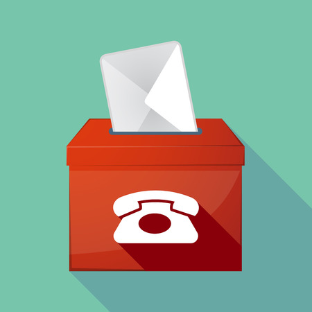 telephone box: Illustration of a long shadow ballot box with  a retro telephone sign Illustration