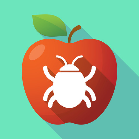 Illustration of a long shadow healthy fresh food red apple fruit icon with a bug