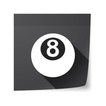 pool ball: Illustration of an isolated sticky note with  a pool ball
