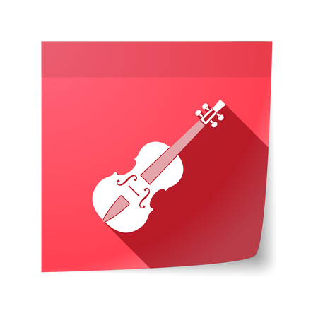 sticky note: Illustration of an isolated sticky note with  a violin