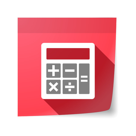 sticky note: Illustration of an isolated sticky note with  a calculator