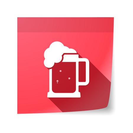 beer jar: Ilustración de una nota adhesiva aislada con un icono de jarra de cerveza