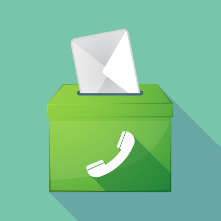 Illustration of a long shadow democratic election ballot box with a phone Illustration
