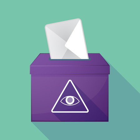 all seeing eye: Illustration of a long shadow democratic election ballot box with an all seeing eye