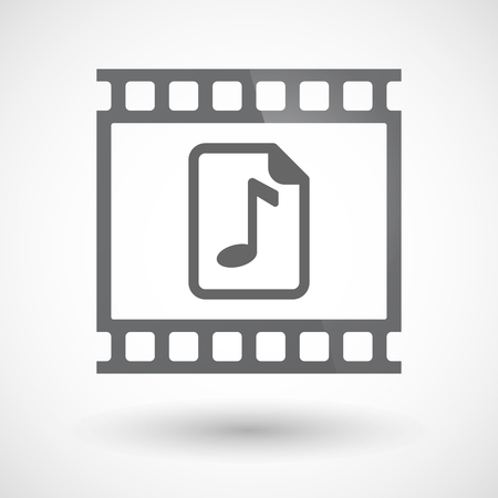 music score: Illustration of an isolated 35mm film frame slide photogram  with  a music score icon