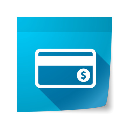 sticky note: Illustration of an isolated sticky note with  a credit card