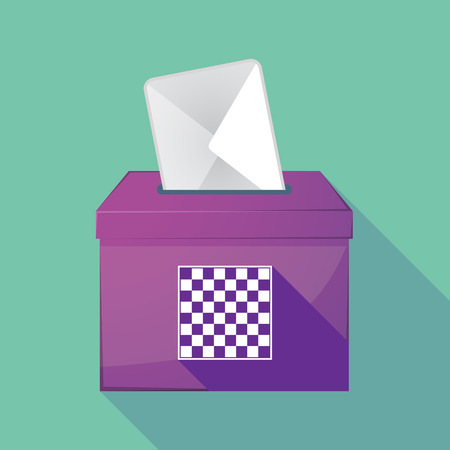 elect: Illustration of a long shadow ballot box with  a chess board