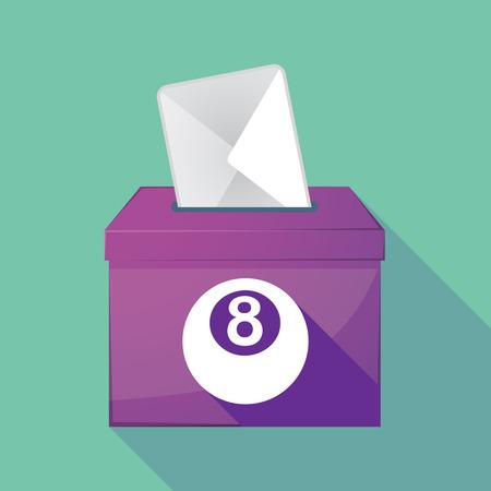 pool ball: Illustration of a long shadow ballot box with  a pool ball