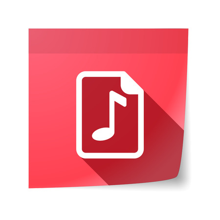 music score: Illustration of an isolated sticky note with  a music score icon