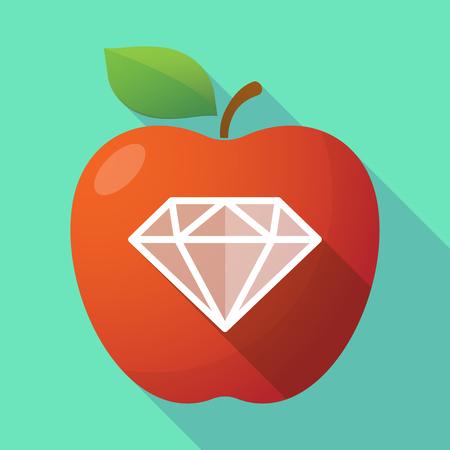 Illustratie van een lang pictogram van het de appelfruit van het schaduw gezond vers voedsel rood met een diamant