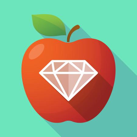 Illustration of a long shadow healthy fresh food red apple fruit icon with a diamond