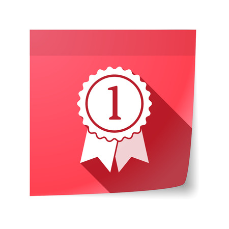 sticky note: Illustration of an isolated sticky note with  a ribbon award