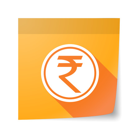 Illustration of an isolated sticky note with  a rupee coin icon