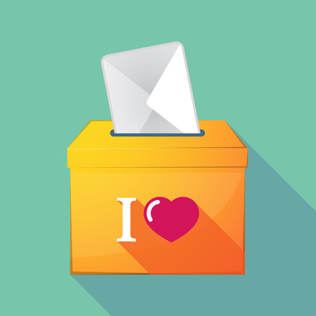 elect: Illustration of a long shadow ballot box with  an  I like glyph