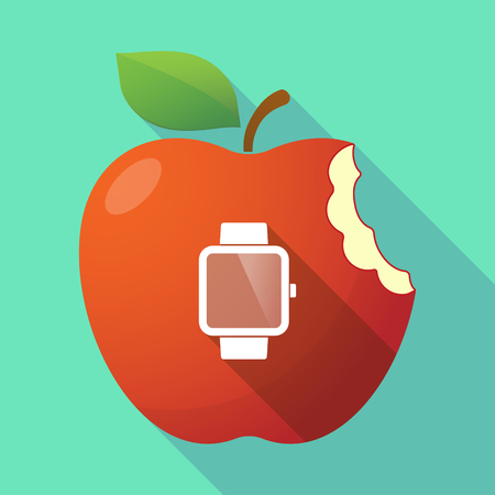 Illustration of a long shadow healthy fresh food red apple fruit icon with a smart watch