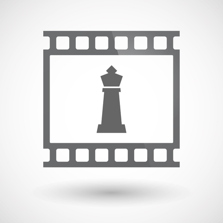 photography background: Illustration of an isolated 35mm film frame slide photogram  with a  king   chess figure