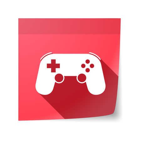 sticky note: Illustration of an isolated sticky note with  a game pad