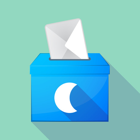 elect: Illustration of a long shadow democratic election ballot box with a moon