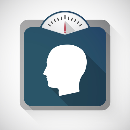 profile measurement: Illustration of a long shadow weight scale with a male head