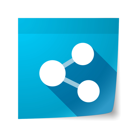 sticky note: Illustration of an isolated sticky note with  a network sign