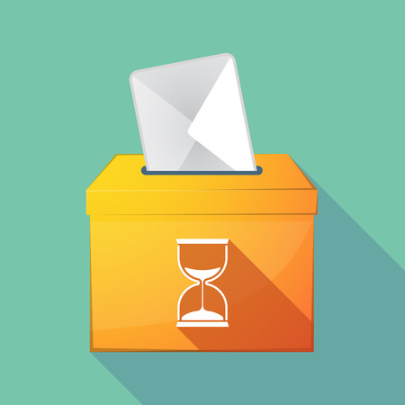 Illustration of a long shadow democratic election ballot box with a sand clock