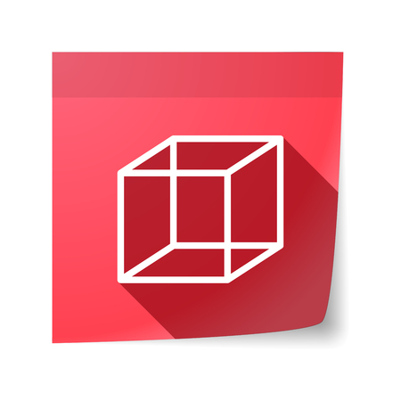 sticky note: Illustration of an isolated sticky note with  a cube sign
