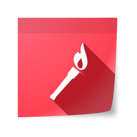sticky note: Illustration of an isolated sticky note with  a torch icon