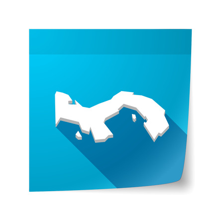 sticky note: Illustration of an isolated sticky note with  the Panama map Illustration