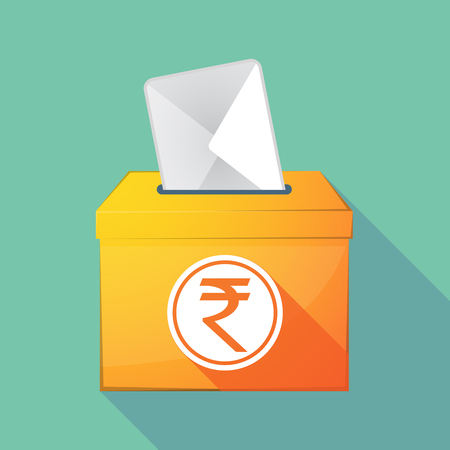 elect: Illustration of a long shadow ballot box with  a rupee coin icon Illustration