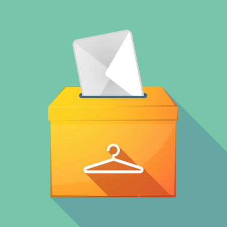 elect: Illustration of a long shadow democratic election ballot box with a hanger